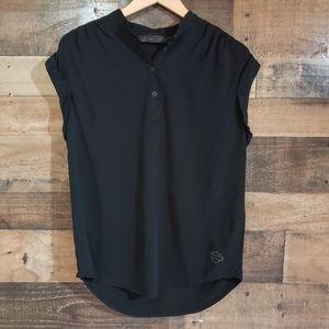 Harley Davidson v-neck button down sewn cuff top